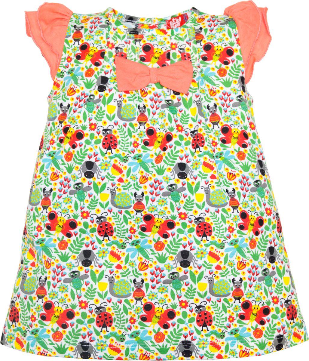 Платье для девочки Lets Go, цвет: белый. 8148. Размер 868148Платье Lets Go станет отличным дополнением к гардеробу вашей малышки. Изготовленное из натурального хлопка, оно необычайно мягкое и легкое. Сзади застегивается на кнопки. Модель оформлена принтом.