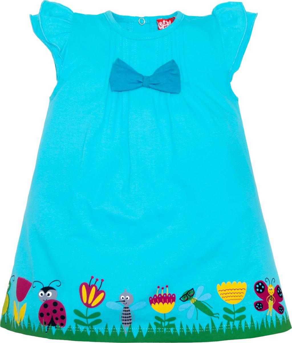 Платье для девочки Lets Go, цвет: светло-бирюзовый. 8148. Размер 868148Платье Lets Go станет отличным дополнением к гардеробу вашей малышки. Изготовленное из натурального хлопка, оно необычайно мягкое и легкое. Сзади застегивается на кнопки. Модель оформлена принтом.