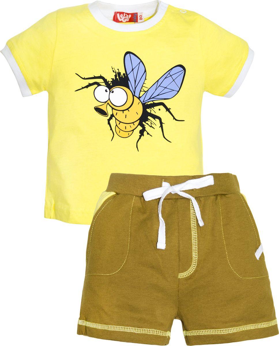 Комплект одежды для мальчика Let's Go: футболка, шорты, цвет: желтый, оливковый. 4228. Размер 80 комплект одежды для мальчика let s go футболка шорты цвет горчичный оливковый 4231 размер 98