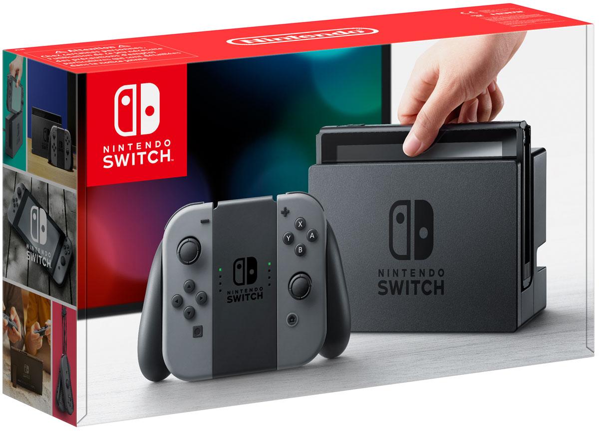 Игровая консоль Nintendo Switch ConSWT1, GreyConSWT1Nintendo Switch - инновационная игровая консоль-гибрид. Ее не только можно подключить к телевизору, она также мгновенно превращается в портативную игровую систему с экраном 6,2 дюйма.Впервые игроки смогут наслаждаться масштабными игровыми проектами, типичными для домашних консолей, где угодно и когда угодно. Игровая консоль поддерживает Amiibo и многопользовательскую локальную/онлайн игру на 8 человек.Многофункциональные контроллеры Joy-Con предлагают игрокам новые возможности для развлечений. Каждый Joy-Con оснащен полным набором кнопок и может выступать в качестве самостоятельного контроллера. Каждый контроллер оснащен акселерометром, гироскопом, а также поддерживают функцию вибрации HD.Подключите консоль к телевизору, и все от мала до велика смогут погрузиться в игровые миры. Отличный способ играть в видеоигры дома с друзьями и родными.Если у вас нет доступа к телевизору, откиньте опору консоли и вручите другу контроллер Joy-Con, чтобы соревноваться друг с другом и играть вместе на экране консоли.Игроки могут подключить до восьми консолей Nintendo Switch друг к другу и наслаждаться многопользовательскими играми.На каждой стороне Nintendo Switch расположено по контроллеру Joy-Con, которые работают в паре. Если вы установите два Joy-Con в держателе Joy-Con, у вас получится традиционный контроллер. Без держателя они функционируют как два отдельных полноценных контроллера.Прикрепите ремешки Joy-Con, идущие в комплекте, к контроллерам и закрепите ремешки на запястье, чтобы насладиться управлением движением.Инфракрасная камера движения в правом контроллере Joy-Con может определять форму, движение и расстояние до объектов, попадающих в поле зрения камеры. Например, она может распознать форму руки, когда вы играете в камень, ножницы, бумага. Теперь в играх откроются новые возможности!Разрешение дисплея: 1280 x 720 Процессор: ARM Cortex A57 ОЗУ: 4 ГБ Видеочип: NVIDIA Tegra X1 Встроенный модуль Bluetooth Тип карты памяти: