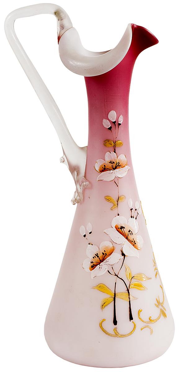 Bristol glass! Кувшин викторианской эпохи Весенние цветы. Опаловое бристольское стекло (Bristol glass), цветные эмали, ручная роспись. Высота 24 см. Бристоль, Великобритания, конец XIX века bristol