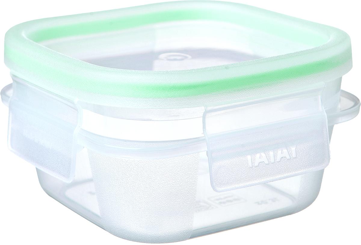"""Герметичный контейнер для пищевых продуктов с уплотнителем из силикона  и системой закрывания крышки с четырех сторон типа """"клик-клак"""".  Материал экологичный, безопасный, не содержит ,бисфенола А. Можно  использовать в микроволновой печи с нагреванием до +100 °С и охлаждать до - 40 °С.Размер: длина:10,8 х 10,8 см. высота: 6 см.  Уход: можно мыть в посудомоечной машине, а также вручную теплым  мыльным раствором.  Идеально сочетается с другими контейнерами этой серии, можно ставить друг  на друга и компактно размещать в шкафу или холодильнике."""