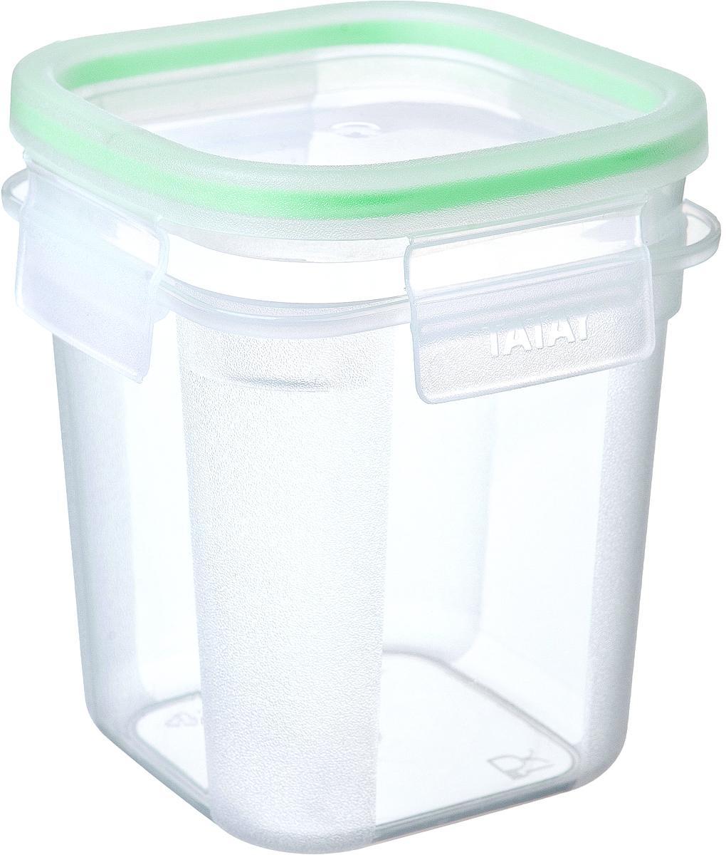 """Герметичный контейнер для пищевых продуктов с уплотнителем из силикона  и системой закрывания крышки с четырех сторон типа """"клик-клак"""".  Материал экологичный, безопасный, не содержит ,бисфенола А. Можно  использовать в микроволновой печи с нагреванием до +100 °С и охлаждать до - 40 °С.Размер: длина:10,8 х 10,8 см. высота: 12,2 см."""