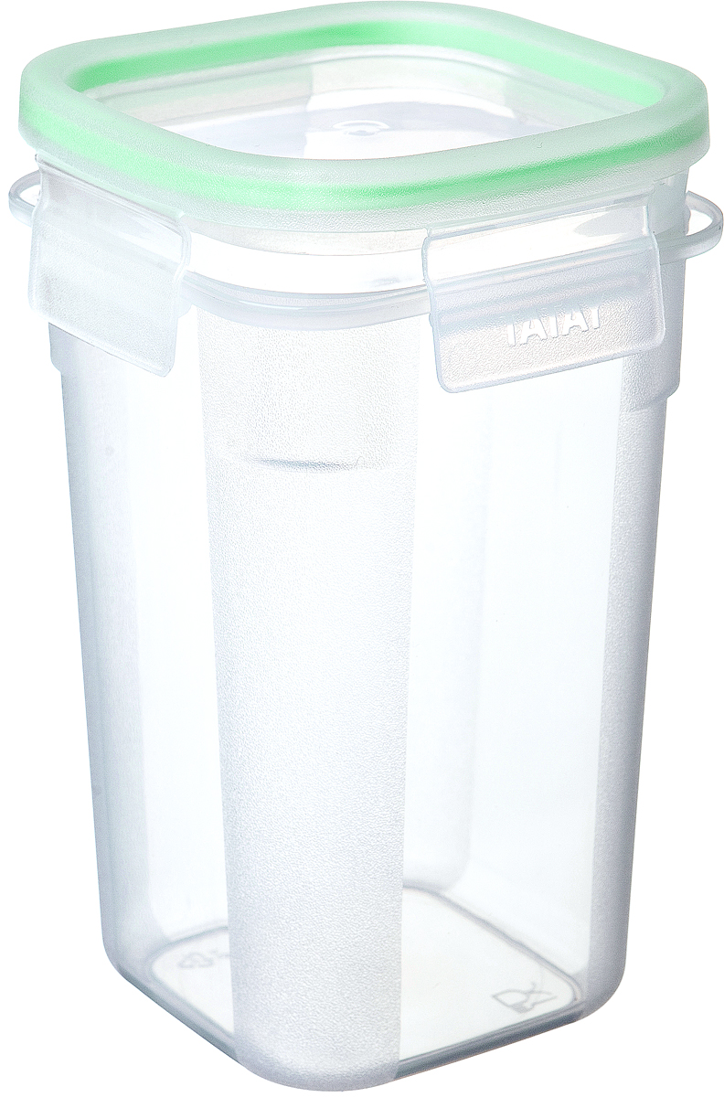"""Герметичный контейнер для пищевых продуктов с уплотнителем из силикона  и системой закрывания крышки с четырех сторон типа """"клик-клак"""".  Материал экологичный, безопасный, не содержит ,бисфенола А. Можно  использовать в микроволновой печи с нагреванием до +100 °С и охлаждать до - 40 °С.Размер: длина:10,8 х 10,8 см. высота: 17 см."""