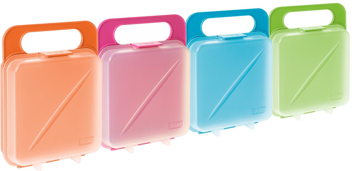 """Если вы любите брать бутерброды с собой на работу, в поход - бутербродница """"Tatay"""" - это то, что вам нужно. В удобном пластиковом контейнере бутерброды не помнутся, не развалятся. Бутербродница изготовлена из пищевого пластика, для удобства использования есть ручка. А яркий дизайн сразу привлечет к себе внимание."""