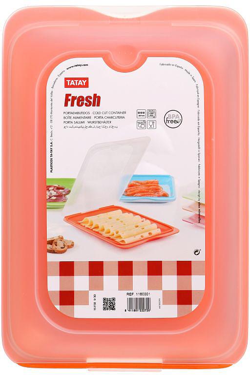 Контейнер пищевой TATAY, цвет: оранжевый, с крышкой, 0,8 л1180002Плоский контейнер TATAY изготовлен из полипропилена. Можно мыть в посудомоечной машине и использовать в микроволновой печи.