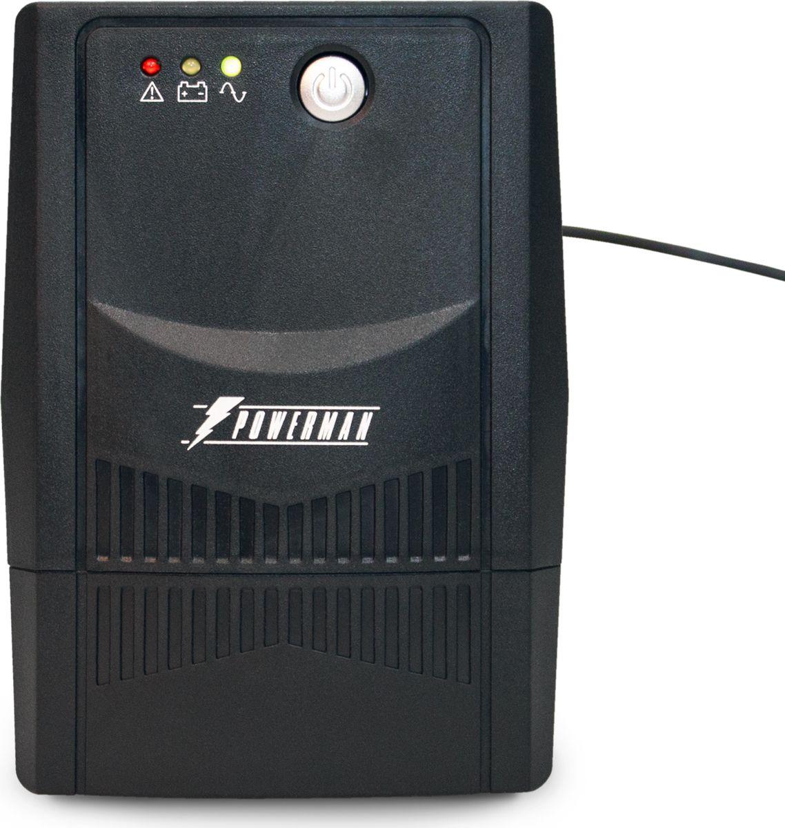 Источник бесперебойного питания Powerman UPS Вack Pro 800I Plus (IEC320), 800 ВА6120414POWERMAN Back Pro 800I Plus (IEC320) - линейно-интерактивный ИБП мощностью 800ВА. Обеспечит надежную защиту ПК, рабочей станции, небольшого сервера, коммуникационного оборудования либо другой нагрузки небольшой мощности с импульсным блоком питания при полном отключении электросети, а также при работе сети с отклонениями от нормы: пониженным либо повышенным уровнем напряжения, наличием импульсных и высокочастотных помех.