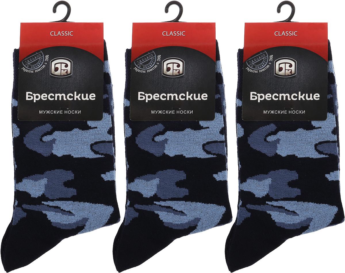 Носки мужские Брестские Classic, цвет: темно-синий, 3 пары. 16С2126. Размер 27 [jingdong супермаркет] puma puma мужские носки случайные спортивные высокие носки три пары установлены m 2905 3 темно синий черный 1 1 1 размер меланж