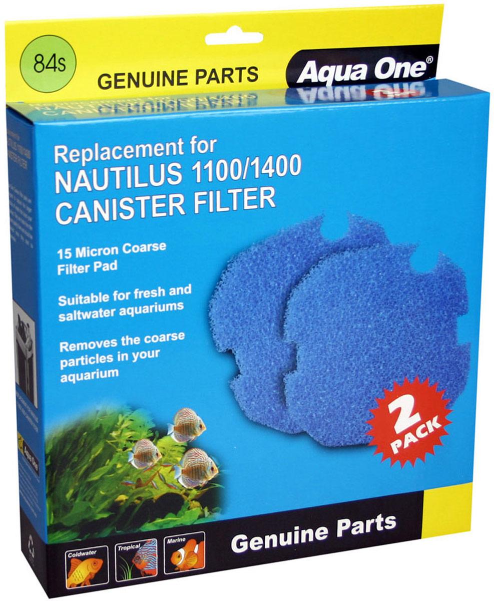 Губка грубой очистки Aqua One Nautilus 1100/1400, для внешних фильтров, 15 PPI, 2 шт