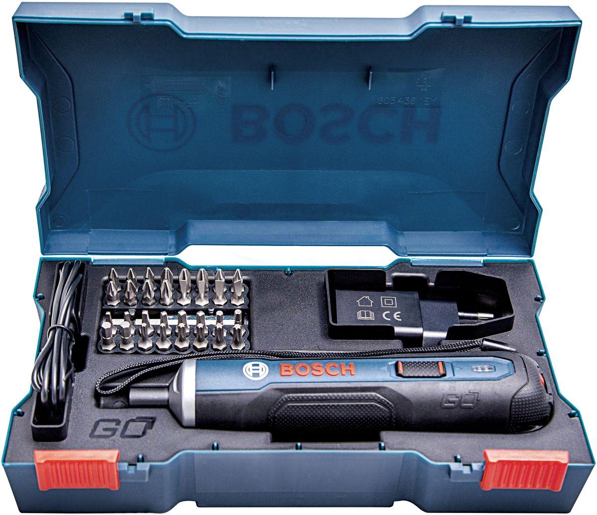 Отвертка аккумуляторная Bosch Go06019H2021В 4 раза более мощный, чем другие шуруповерты такого же размера и формы- Интуитивная работа – Заворачивание шурупов одним нажатием кнопки (Push & Go)- Интеллектуальная муфта E-clutch останавливает инструмент тогда, когда этонеобходимоНапряжение [ В ] 3.6Ёмкость аккумулятора [Ач] 1.5Максимальный крутящий Момент (ж/м) [ Нм ] 5/2.5Число оборотов на холостом ходу [об/мин] 360Управление скоростью нетпереключатель Кнопка «старт»Регулировка крутящего момента ДаМакс мощность при реверсе ДаЗарядный порт Микро-USBИндикатор заряда аккумулятора да (3 LED )Время заряда аккумулятора [мин] 90Держатель бит 1/4 HEXБлокировка даСветодиод LED нетКомплектация:Отвертка Bosch GO33 битыЗарядное устройство USB Кабель