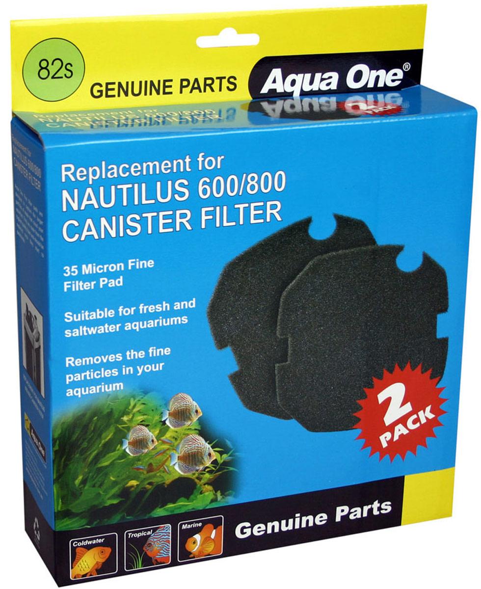 Губка тонкой очистки Aqua One Nautilus 600/800, для внешних фильтров, 35 PPI, 2 шт оборудование для аквариума aqua excel ae ro