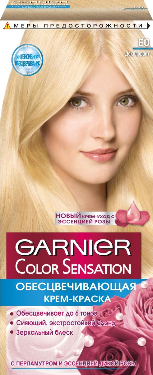 Garnier Стойкая крем-краска для волос Color Sensation, Роскошь цвета, оттенок E0, Ультра блондC4106900Стойкая крем - краска c перламутром и цветочным маслом. Выразительный экстрастойкий цвет. Точное попадание в цвет. Зеркальный блеск. 100% закрашивание седины.Узнай больше об окрашивании на http://coloracademy.ru/ В состав упаковки входит: флакон с молочком-проявителем (60 мл); тюбик с крем-краской (40 мл); крем-уход после окрашивания (10 мл); инструкция; пара перчаток.
