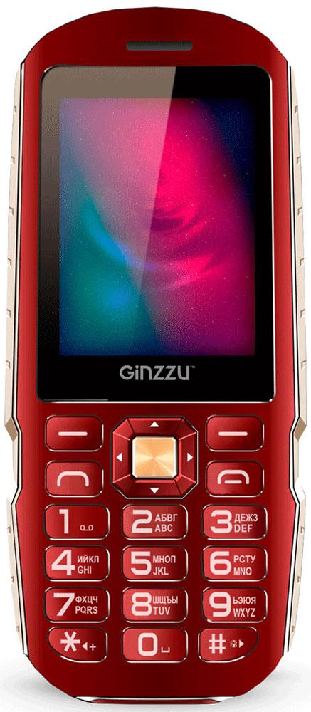 Ginzzu R1D, Red защищенный мобильный телефон ginzzu r1d champagne 2 4 tft 320x400 1sim 2g 1 3mp fm bt ip56 800mah