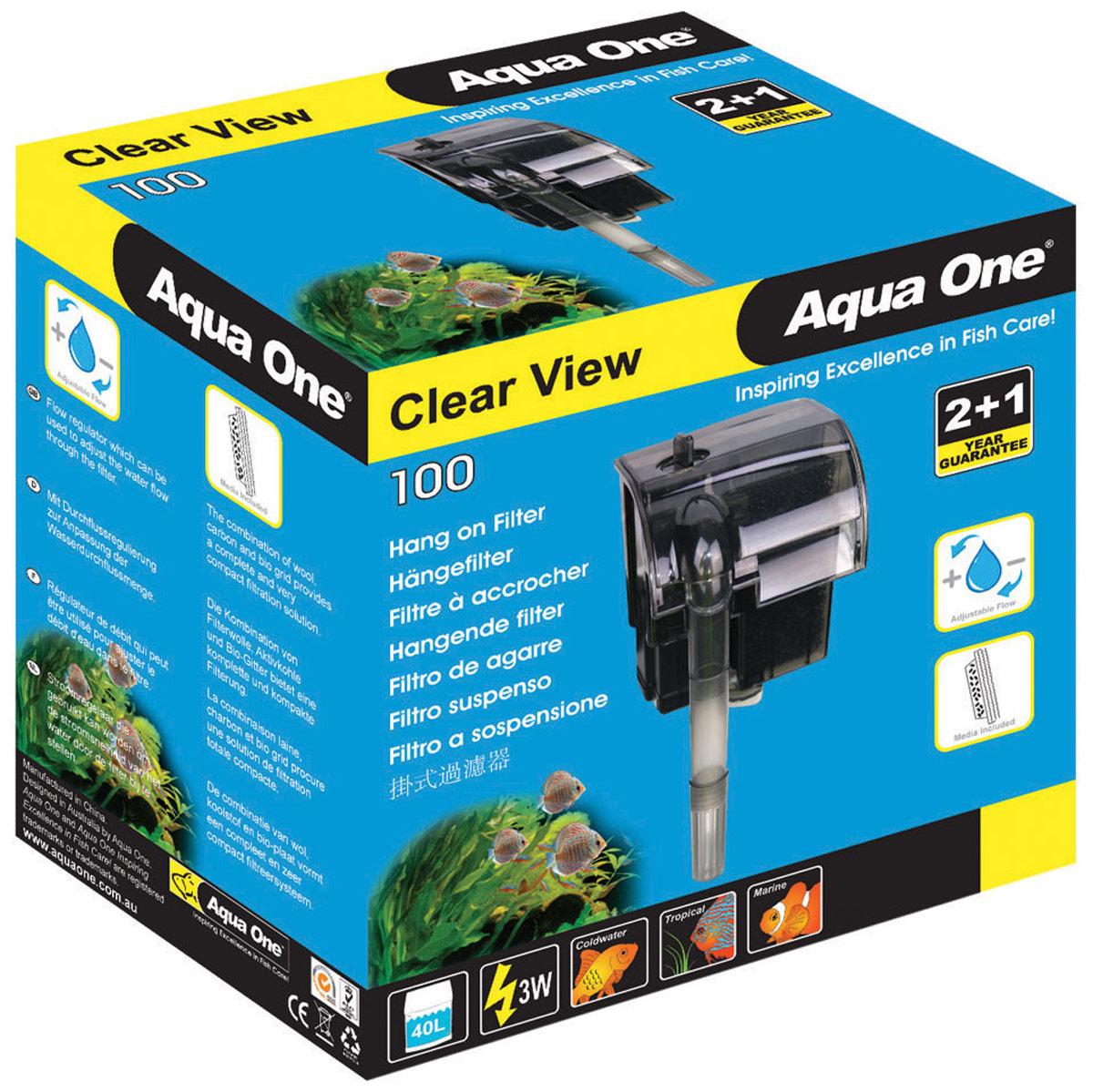 Фильтр Aqua One ClearView 100, рюкзачный, до 40 л, 180 л/ч, 3W sd one 36