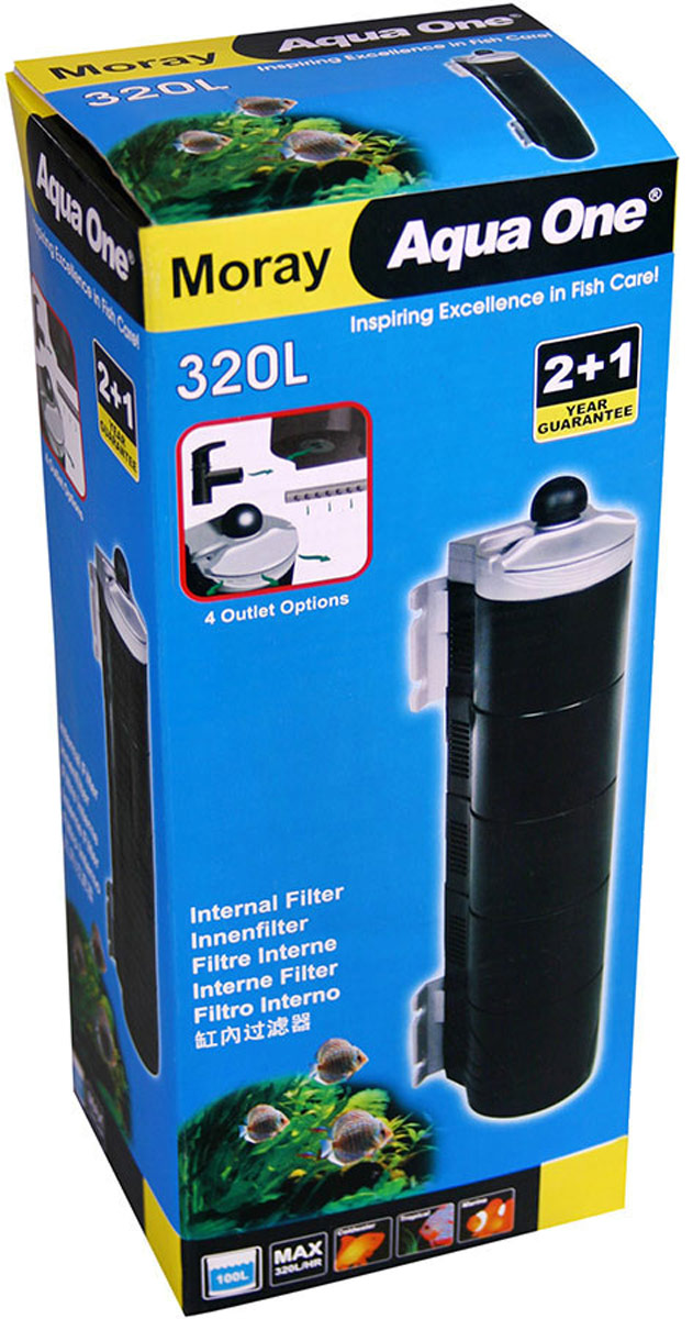 Фильтр Aqua One Moray 320L, внутренний, удлиненный, до 150 л, 320 л/ч, 4,4W уни фильтр aqua el unifilter 750 внутренний 100 750л ч