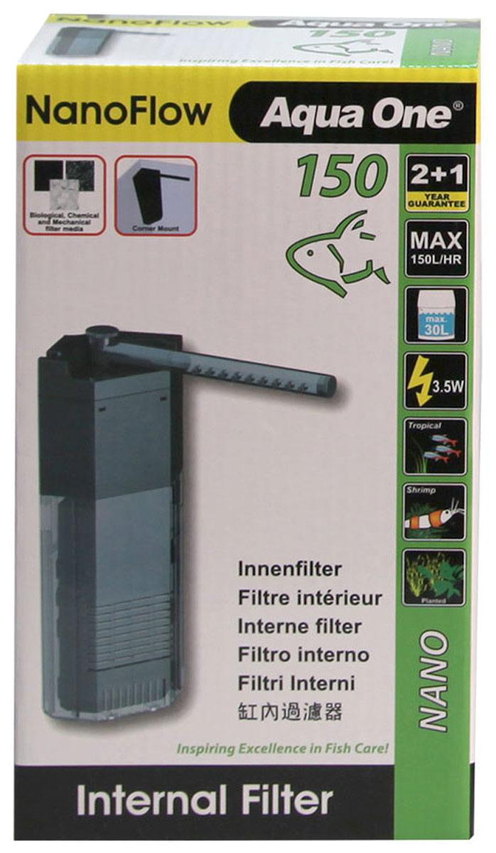 Фильтр Aqua One NanoFlow 150, внутренний, до 30 л, 150 л/ч, 3,5W компрессор schego ideal 150 л ч