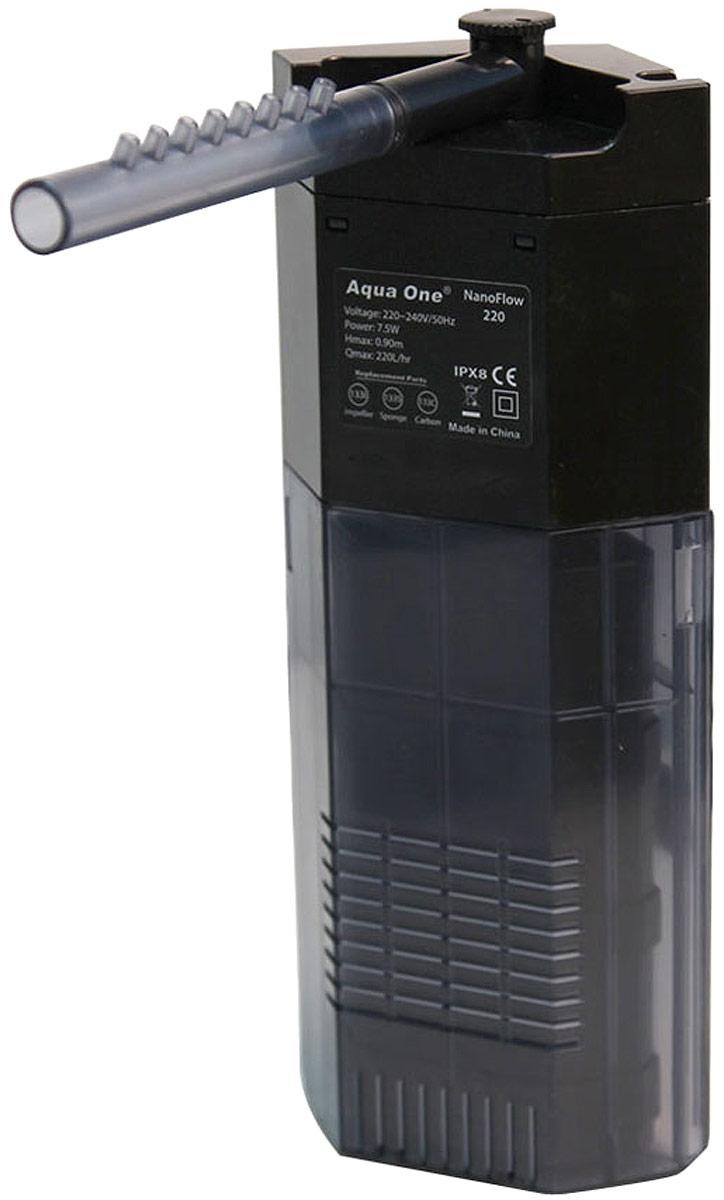 Фильтр Aqua One NanoFlow 220, внутренний, до 55 л, 220 л/ч, 7,5W турбофильтр aqua el 1000 внутренний до 1000л ч