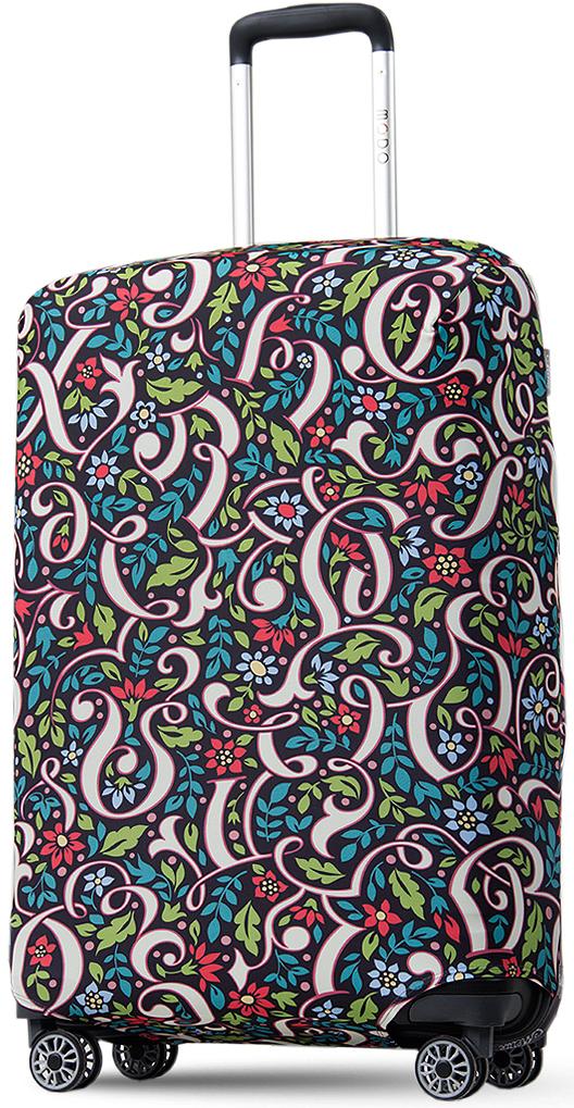 """Дизайн чемоданного чехла с умеренно ярким цветочным узором """"Иллюзия букв"""" придется по вкусу многим. Узор с фольклорными мотивами довольно строг и классичен, но при этом достаточно свеж и оригинален. Чехол с цветами и фрагментами вензелей будет контрастировать с багажом окружающих, не позволит вам слиться с толпой, подчеркнет индивидуальность и стиль во всем даже в дороге. Чехол выполнен в темной цветовой гамме, поэтому не маркий, на нем не видны загрязнения. Кроме того, сам материал - плотный и гигроскопичный, не нуждается в частой стирке и каком-либо особом уходе."""