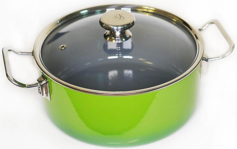 Кастрюля SKK Series 8, со стеклянной крышкой, цвет: зеленый, 3,75 л12620G/16201Кастрюля SKK изготовлена из нержавеющей стали с эмалевым покрытием.Кастрюля оснащена стеклянной крышкой и металлическими ручками.Можно использовать на всех типах газовых и электрических плит.Диаметр крышки: 20 см Высота бортов: 13 см Объем: 3,75 л Толщина дна: 9 мм.