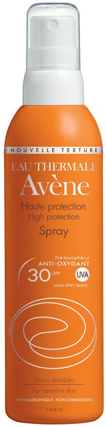 Avene Спрей солнцезащитный SPF 30, 200 млC22992Солнцезащитный спрей SPF 30 разработан для ухода за вашей кожей во время пребывания на солнце. Входящий в состав спрея запатентованный минеральный экран обеспечивает высочайшую защиту от UVA и UVB лучей, которая является максимально продолжительной по времени из-за высокой фотоустойчивости, а также обладает устойчивостью к поту и воде. Претокоферил нейтрализует неблагоприятное действие свободных радикалов. А термальная вода Авен обладает великолепными успокаивающими и увлажняющими свойствами.