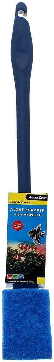 Скребок-губка Aqua One Algae Scraper, для механической очистки аквариума от водорослей, 45 см скребок для аквариума хаген складной