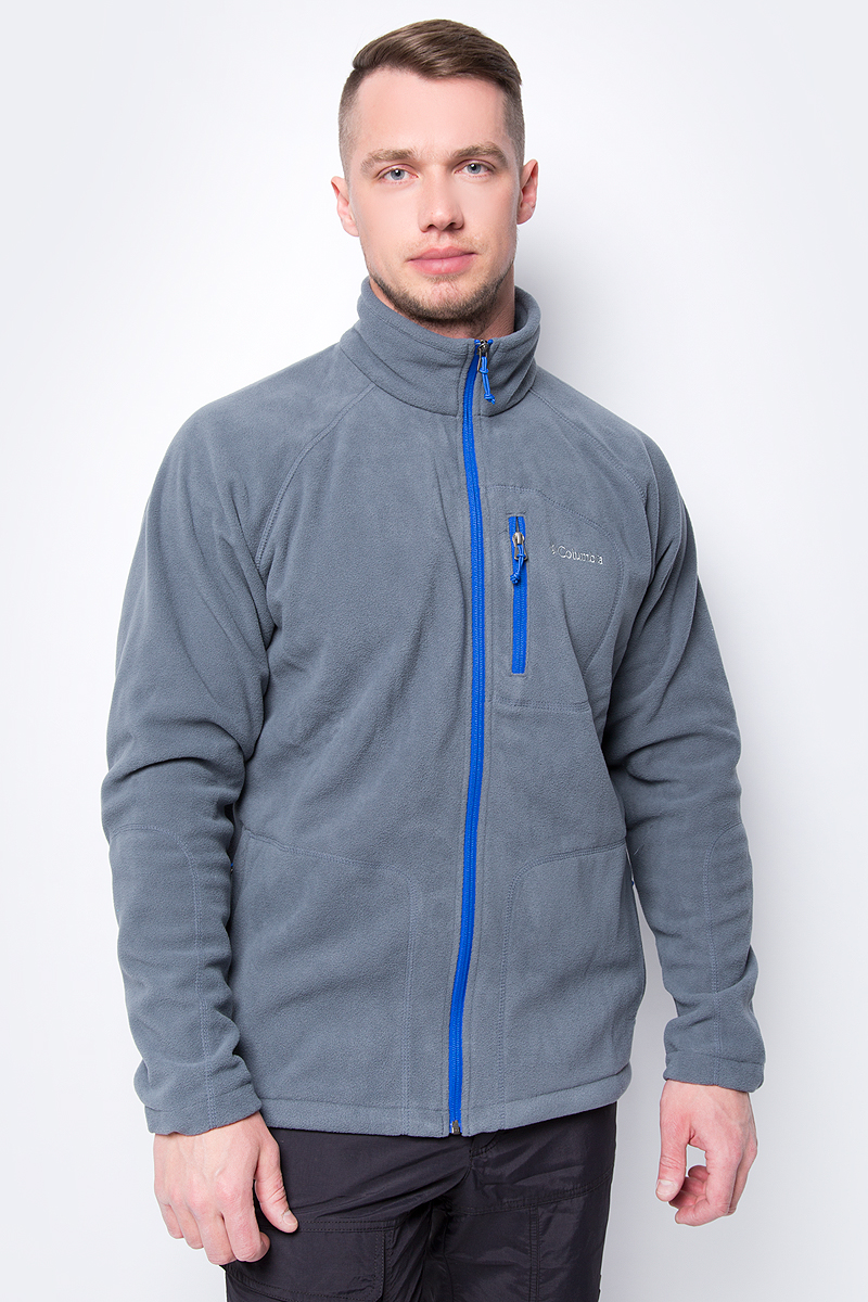 Толстовка мужская Columbia Fast Trek II Full Zip Fleece, цвет: темно-серый. 1420421-058. Размер XXL (56/58) 2018 new arrival genuine leather pointed toe lace up mens formal shoes male footwear british retro wing tip high quality scarpe