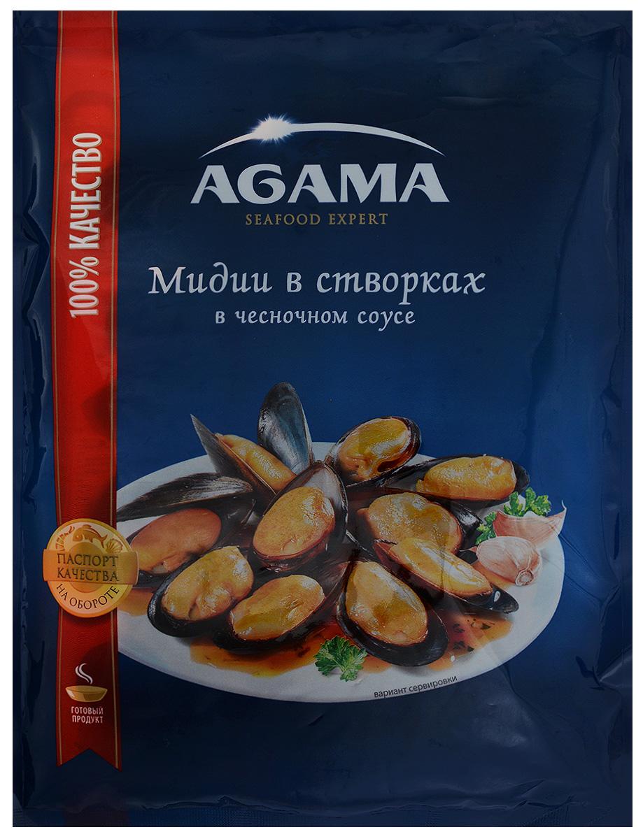 Agama Мидии в створках в чесночном соусе, варено-мороженые, 450 г