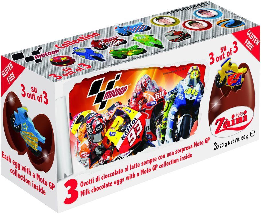 Zaini Moto GP яйца шоколадные с игрушкой, 3 шт по 20 г1760Фабрика Zaini была основана в Милане в 1913 году. Вот уже на протяжении столетия она не перестает приятно удивлять покупателей своими кондитерскими шедеврами. Шоколад итальянских мастеров достоин искреннего восхищения, их новинки, несомненно, порадуют как детей, так и взрослых.Шоколадные яйца с игрушкой серии Moto GP 3шт