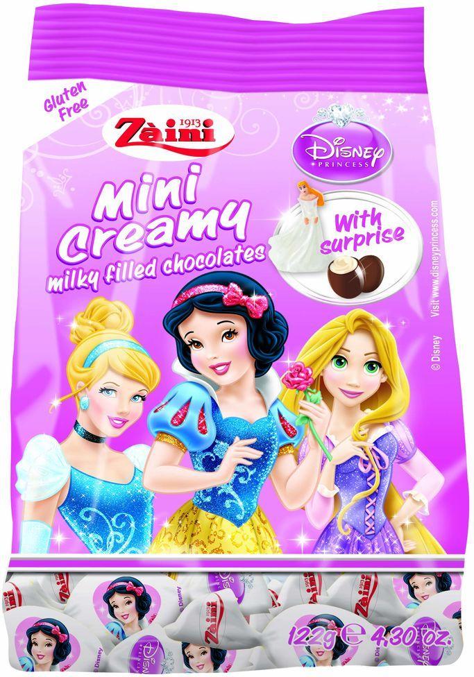 Zaini Mini Creamy Disney Princess конфеты шоколадные с молочной кремовой начинкой и сюрпризом, 122 г шоколадные годы конфеты ассорти 190 г