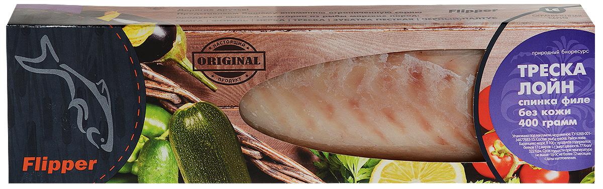 """Flipper Треска, филе (лойн), 400 гМС-000085886Треска филе """"Flipper"""" отличается нежным белым мясом с нежно розовым отливом посередине. Великолепна для запекания, приготовления заливного, добавления в салаты. Рыбоперерабатывающее производство ООО ПК Флиппер - компания, собравшая опыт экспертов известных рыбных предприятий России."""