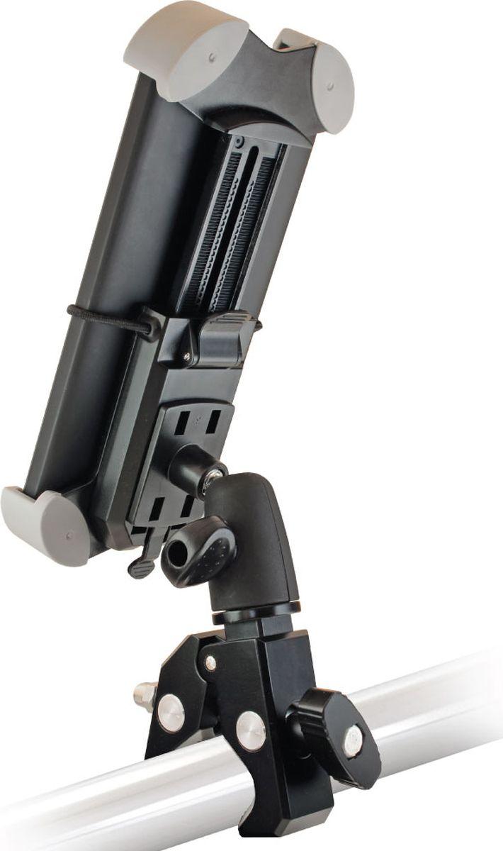 Универсальный держатель для мотоцикла, велосипеда GINZZU GH-883B. Для смартфонов, навигаторов шириной от 40 мм до 78 мм и высотой от 110 мм до 167 мм. Поворот на 360°, наклон до 90°. Страховочная резинка