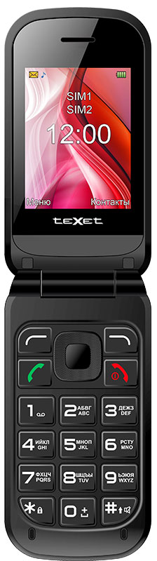 Texet TM-B216, BlueTM-B216-BLUДополнительный внешний дисплей делает использование телефона максимально комфортным: на немотображается номер звонящего, дата и время, а так же оповещения о пропущенных вызовах и сообщениях SMS.Теперь необязательно открывать телефон, чтобы посмотреть время или отклонить нежелательный звонок. Корпус модели выполнен в мягкой обтекаемой форме и покрыт специальным покрытием soft touch. На заднейпанели телефона расположена кнопка SOS – для экстренных вызовов.Телефон в форм-факторе раскладушка в первую очередь предназначен для людей зрелого возраста. Всложенном виде раскладушка занимает минимум пространства, но стоит только открыть ее и перед вами большой экран с увеличенным шрифтом и крупные удобные кнопки.Телефон сертифицирован EAC и имеет русифицированную клавиатуру, меню и Руководство пользователя.