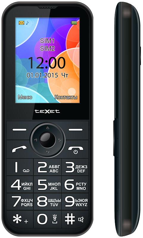 Texet TM-B330, AnthraciteTM-B330-ARTTexet TM-B330 оснащен цветным ЖК-дисплеем размером 2.4 дюйма и с разрешением 240x320 пикселей. Шрифт дисплея с увеличеннымразмером, что является необходимым требованием к телефонам для людей с ослабленным зрением.Несмотря на внушительные размеры (длина - 13,8 см, ширина 5,5 см), позволяющие отнести девайс к категории бабушкофонов, телефон выглядиточень стильным и аккуратным. Корпус устройства имеет сглаженную форму и приятно ложится в ладонь. Особое внимание привлекает клавиатура устройства: крупные кнопки с большими легко читаемыми цифрами имеют выступающий рельеф,что позволяет осуществлять набор номера и навигацию по меню не глядя на клавиатуру. Мягкая подсветка белого цвета деликатно акцентирует внимание на символах кнопок и позволяет даже представителям старшего поколенияне ошибаться при наборе номера.Телефон сертифицирован EAC и имеет русифицированную клавиатуру, меню и Руководство пользователя.