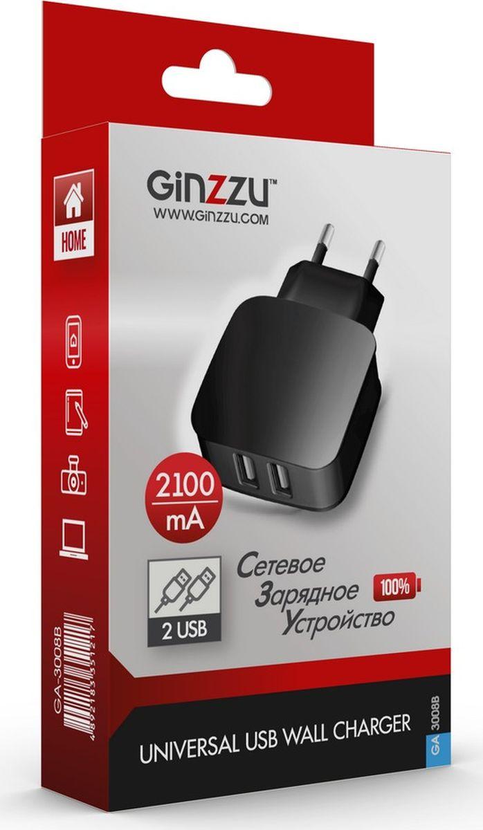 Ginzzu GA-3008B, Black сетевое зарядное устройство (2,1 A) сетевое зарядное устройство ginzzu ga 3618b для acer iconia tab 12v 1 5a