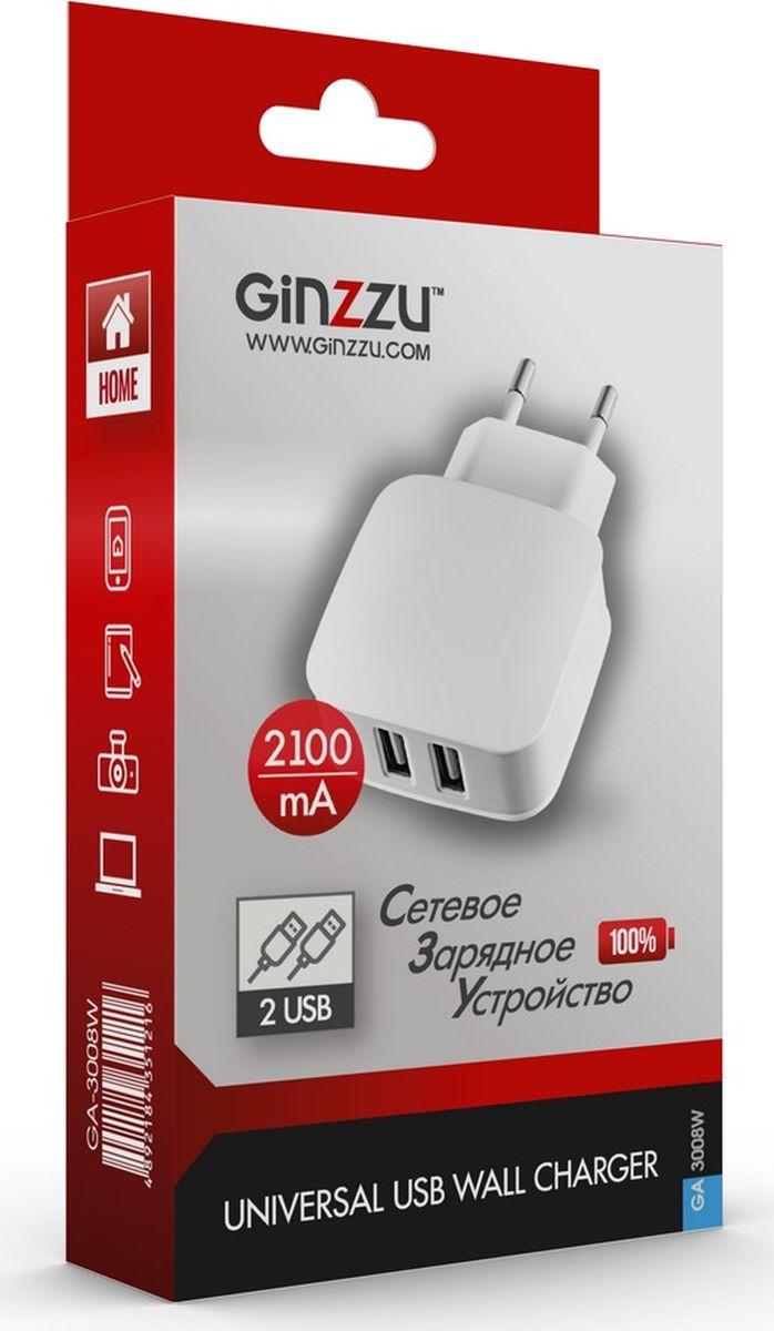 Ginzzu GA-3008W, White сетевое зарядное устройство (2,1 A) сетевое зарядное устройство bb 005 001 white