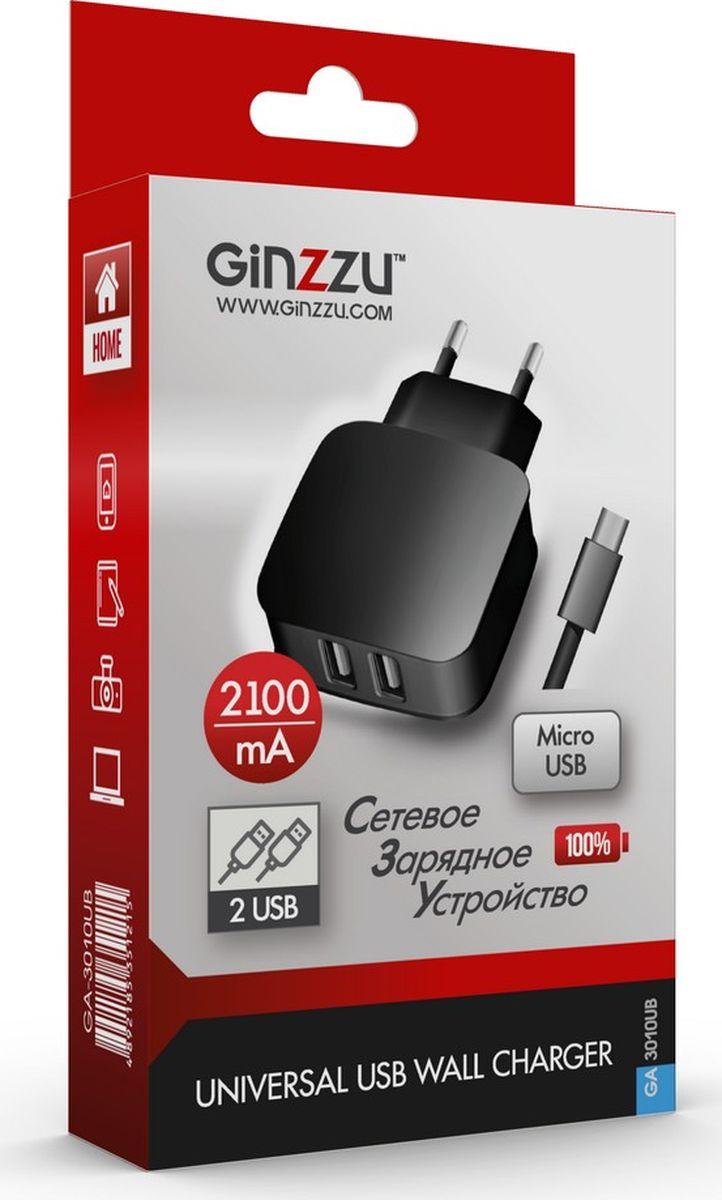 Ginzzu GA-3010UB, Black сетевое зарядное устройство + кабель micro USB зарядное устройство для мобильных телефонов usb