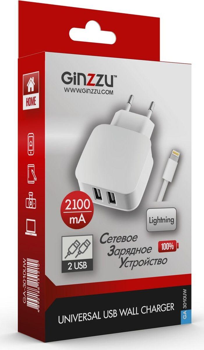 Ginzzu GA-3010UW, White сетевое зарядное устройство + кабель Lightning кабель maverick lightning 1 м белый