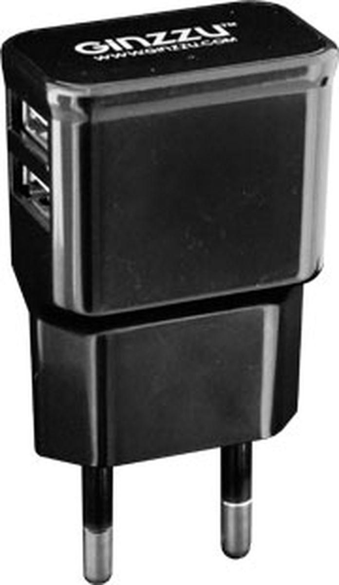 Ginzzu GA-3210UB, Black сетевое зарядное устройство (2,1 A) ginzzu ga 3003w white сетевое зарядное устройство 1 2 a