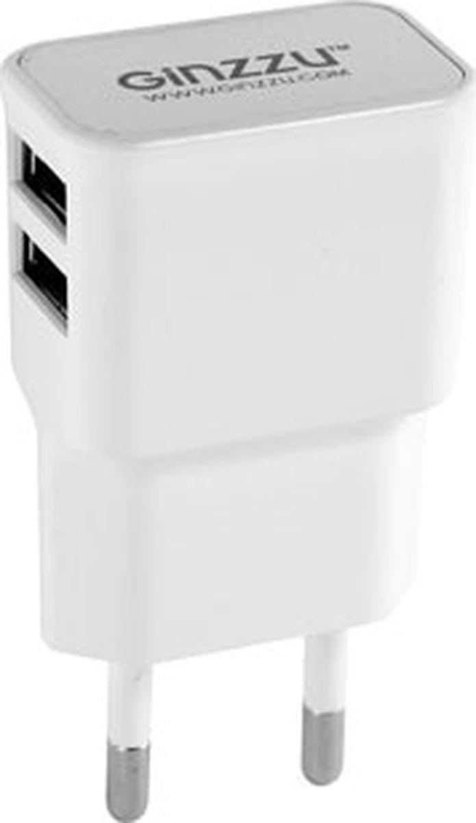 Ginzzu GA-3210UW, White сетевое зарядное устройство (2,1 A)GA-3210UWСетевое зарядное устройство 2,1A, 5V, белый, 2xUSB, для зарядки мобильных устройств, в том числе APPLE, SAMSUNG