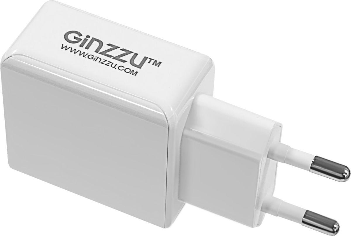 Ginzzu GA-3313UW, White сетевое зарядное устройство + кабель Lightning сетевое зарядное устройство deppa 2 usb 2 4а дата кабель apple 8pin mfi белый