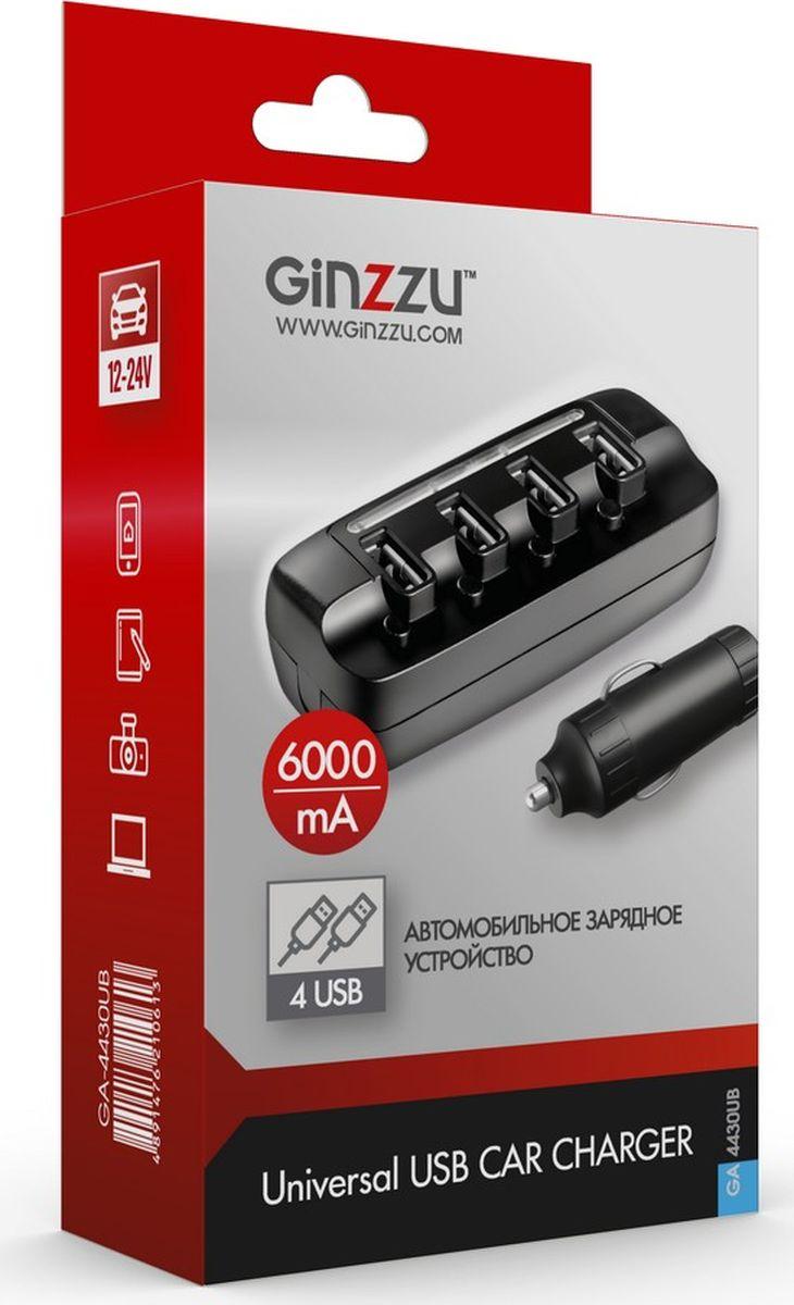 Ginzzu GA-4430UB, Black автомобильное зарядное устройство (6 A)GA-4430UBАвтомобильное зарядное устройство 6.0A(суммарно), 5V, черный, 4xUSB, выключатель и индикатор на каждый порт, вход 12-24V + удлинитель 0,8м, для зарядки мобильных устройств