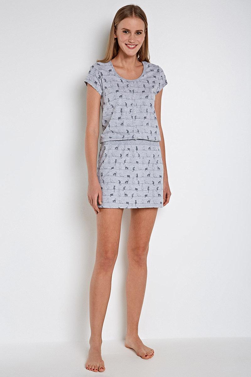Пижама женскаяInfinity Lingerie Aureta, цвет: серый. 31204270104_9000. Размер XL (50)
