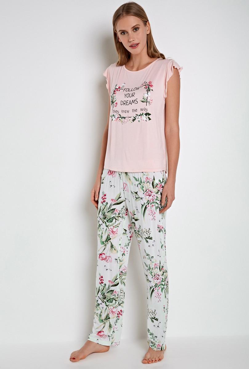 Комплект домашний женский Infinity Lingerie Ninon: футболка, брюки, цвет: белый, розовый. 31204250068_9000. Размер L (48)