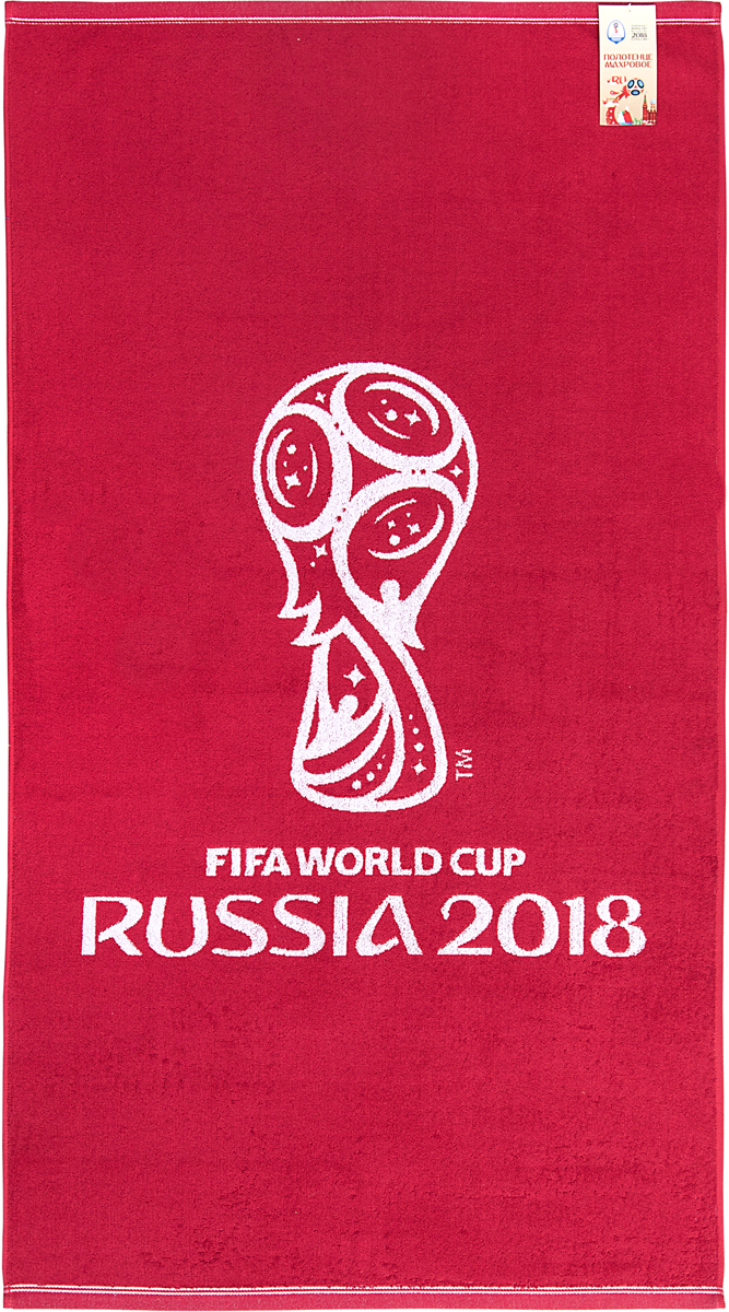 """Полотенце махровое FIFA """" Официальная эмблема"""", цвет: белый, красный, 70 х 130 см"""