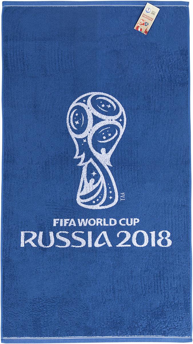 """Полотенце махровое FIFA """" Официальная эмблема"""", цвет: белый, синий, 70 х 130 см"""
