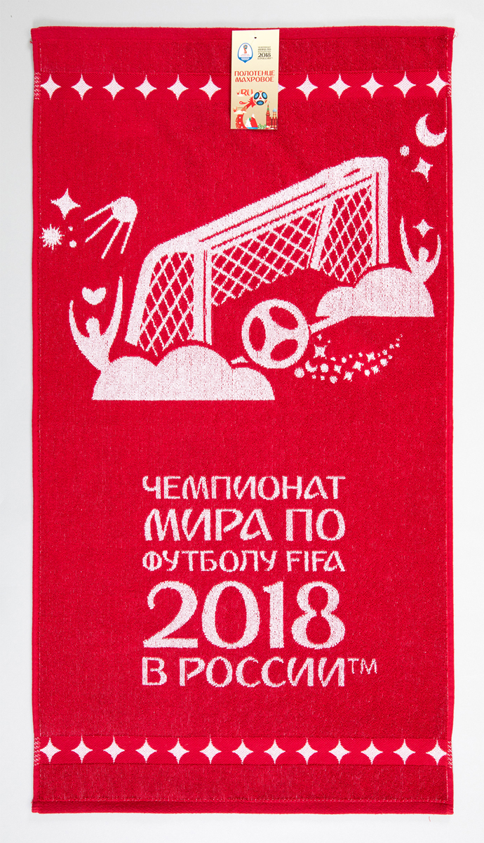 """Полотенце махровое FIFA """" Чемпионат 2"""", цвет: белый, красный, 70 х 130 см"""
