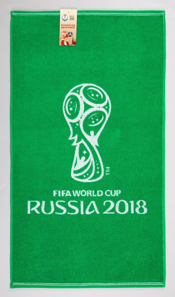 """Полотенце махровое FIFA """" Официальная эмблема чемпионата 2018"""", цвет: белый, зеленый, 70 х 130 см"""