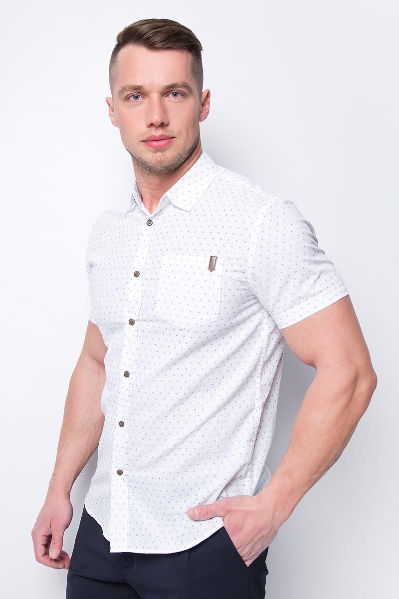 Рубашка мужская Sela, цвет: белый. Hs-212/787-8243. Размер 44 (54) цены онлайн