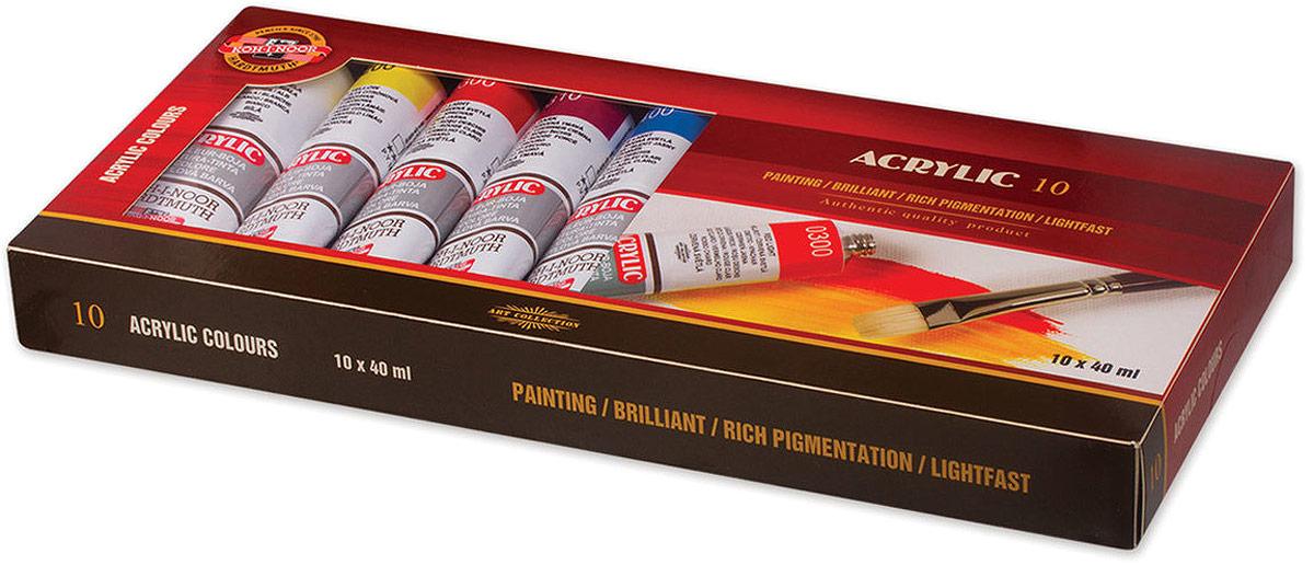 Koh-i-Noor Краска акриловая 10 цветов16270400000Предназначены для живописи и декоративных работ. Легко наносятся на бумагу, картон, грунтованный холст, дерево, металл, кожу, ткань. Отличаются яркостью и чистотой цвета. Легко смешиваются с водой. При высыхании образуют эластичную, несмываемую пленку.