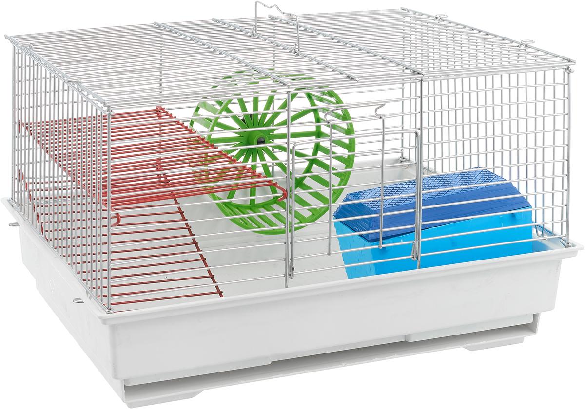Клетка для грызунов Велес  Lusy 2 , 2-этажная, цвет: белый, серебристый, 30 х 42 х 25 см - Клетки, вольеры, будки